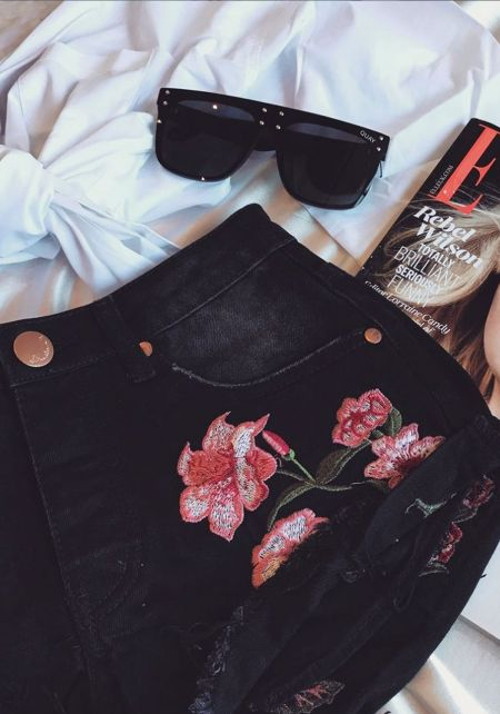 Black Studded Embroidered Cut Off Denim Shorts