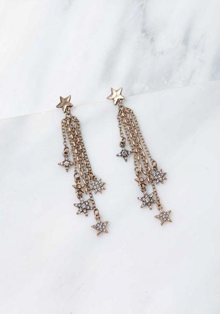 Gold Star Dangle Multi Chain Earrings