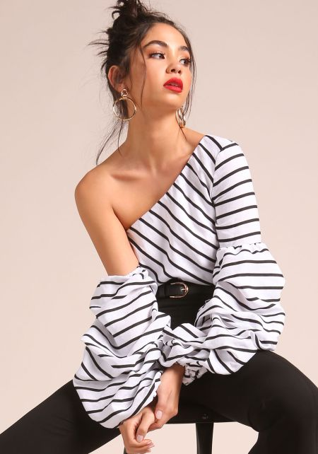 White and Black Stripe Puff Sleeve One Shoulder Bl
