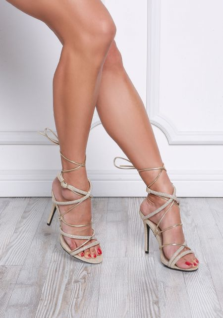 Champagne Rhinestone Lace Up Heels