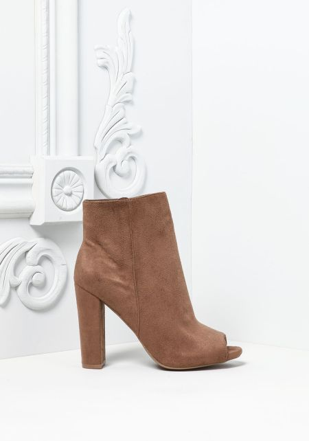 Taupe Suedette Peep Toe Booties