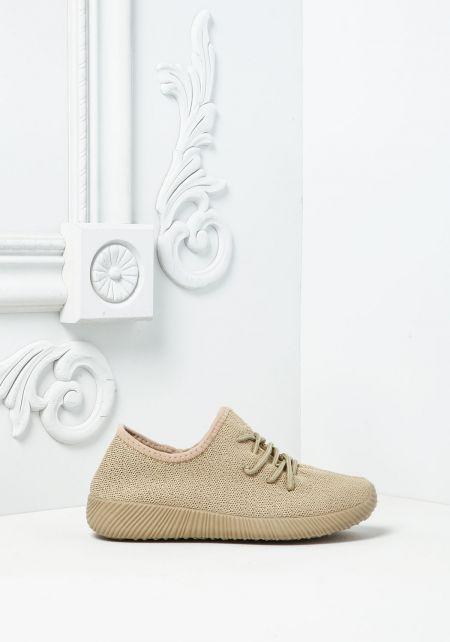 Taupe Knit Slip On Sneakers