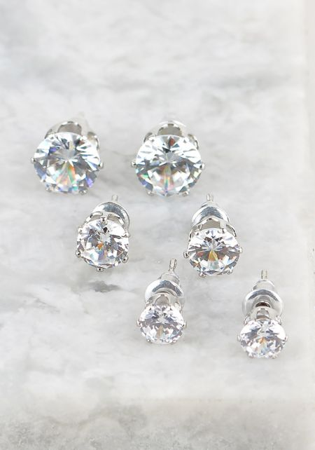 Silver Assorted Rhinestone Earrings