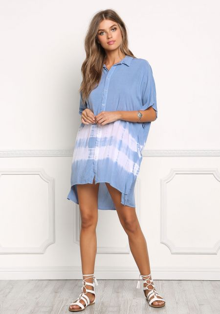 Light Blue Tie Dye Stripe Tunic Blouse