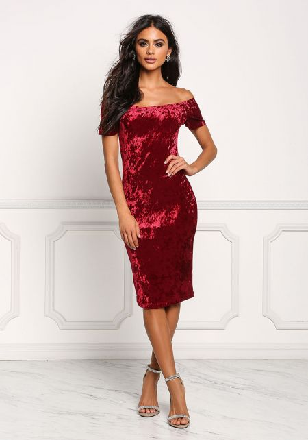 Burgundy Off Shoulder Crushed Velvet Bodycon Dress
