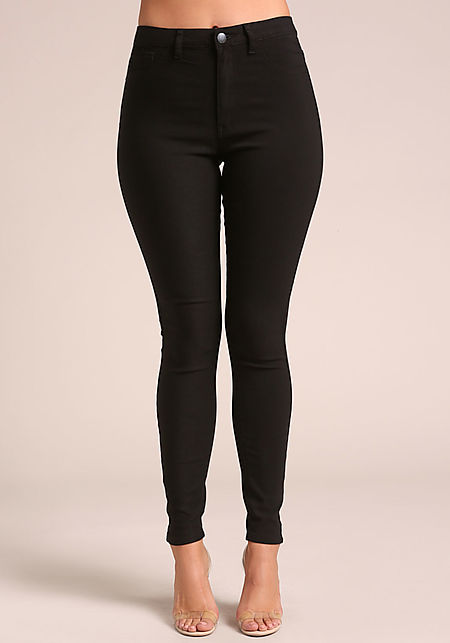 Black Solid High Rise Skinny Jeans