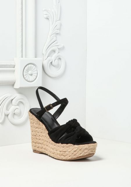 Black Knotted & Braided Wedges