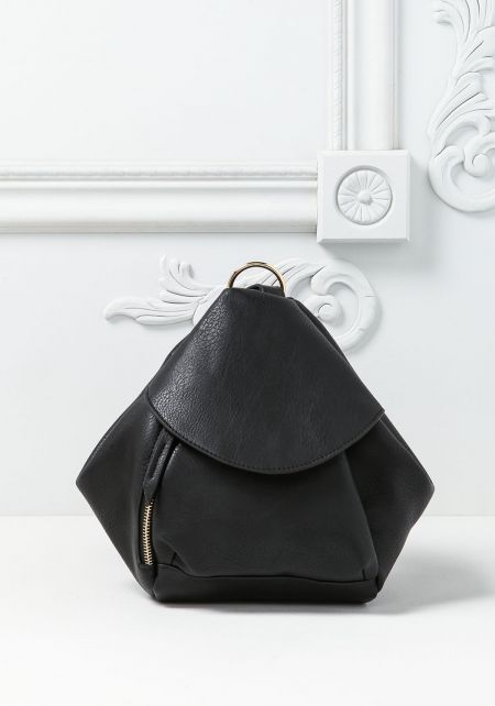 Black Leatherette Pouch Backpack