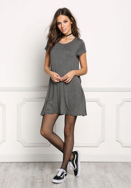 Charcoal Jersey Knit T-Shirt Shift Dress