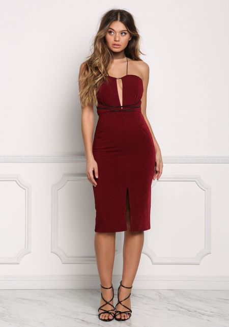 Burgundy X Strap Slit Bodycon Dress
