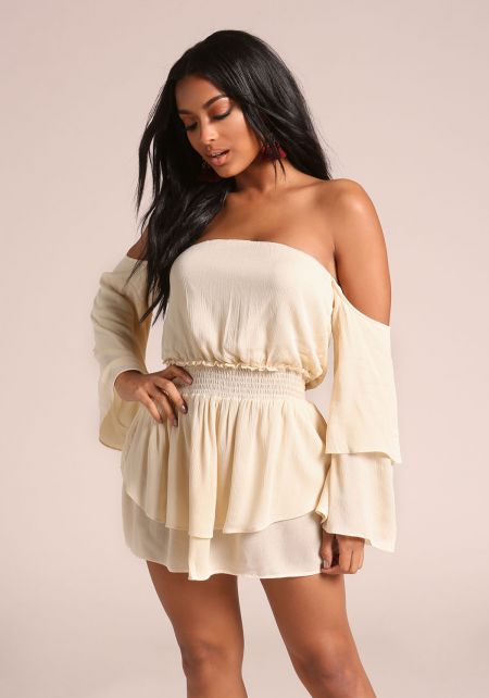 Oatmeal Crepe Off Shoulder Layered Mini Shift Dres