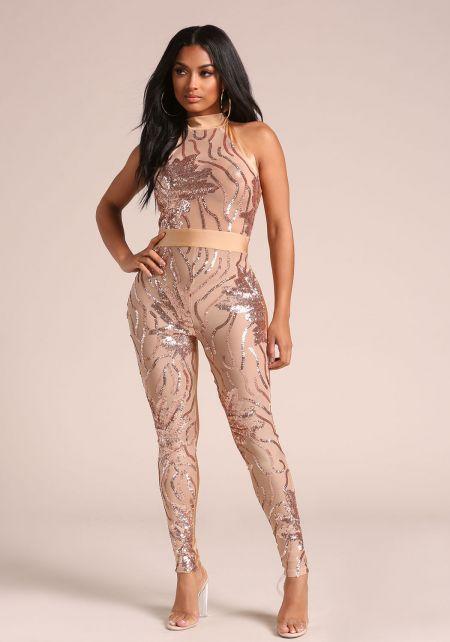 Rose Gold Sequin Mesh Halter Jumpsuit