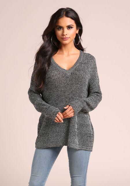 Black Marled V Neck Sweater Top