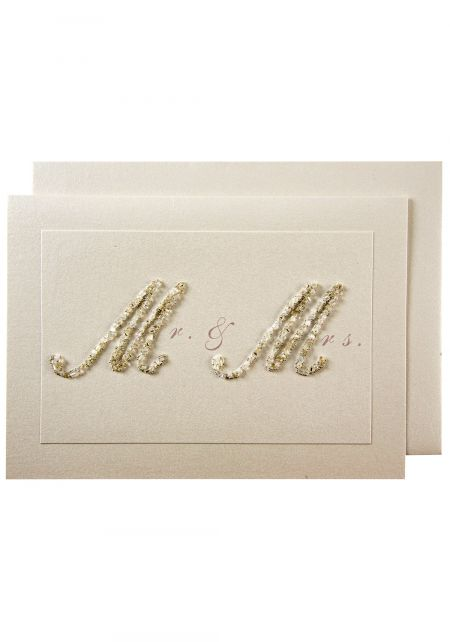 Mr and Mrs Beaded Wedding Card