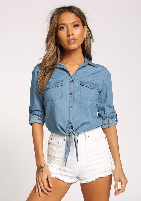 Denim Tie Front Button Down Crop Top
