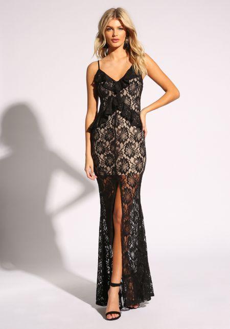 Black Lace Ruffle Slit Maxi Gown