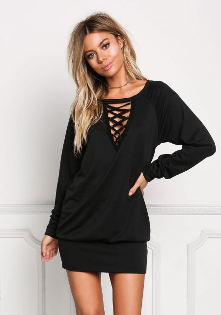 Black Plunge Caged Tunic Top