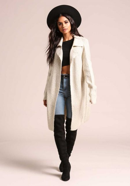 Oatmeal Marled Thick Knit Longlined Cardigan