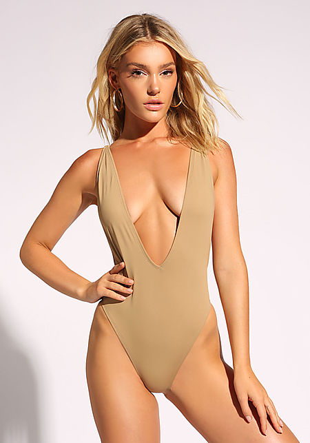 Beige Plunge Scoop Swimsuit Monokini