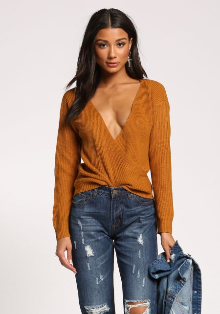 Mustard Wide V Surplice Sweater Top