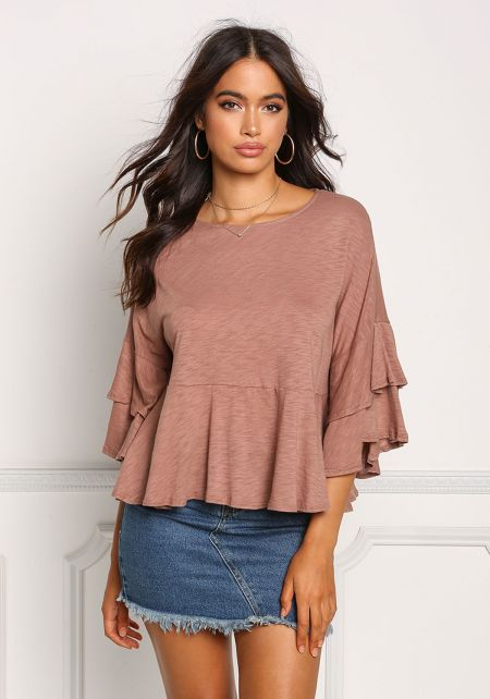 Mauve Layered Bell Sleeve Flared Top