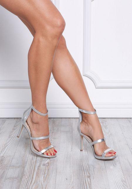 Silver Three Strap Metallic Heels