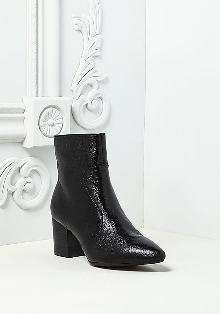 Black Metallic Foil Faux Leather Pointed Booties