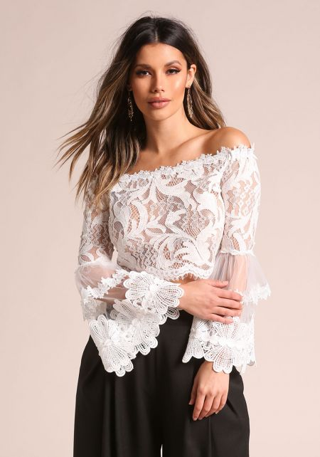 White Lace Bell Sleeve Off Shoulder Crop Top