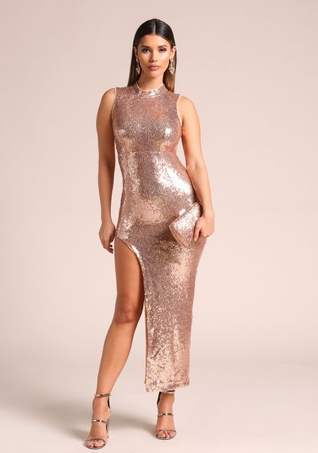Rose Gold Sequin High Side Slit Maxi Dress