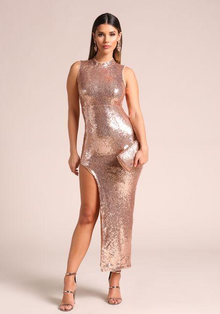 Rose Gold Sequin High Side Slit Maxi Dress