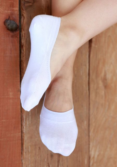 White No Show Knit Socks