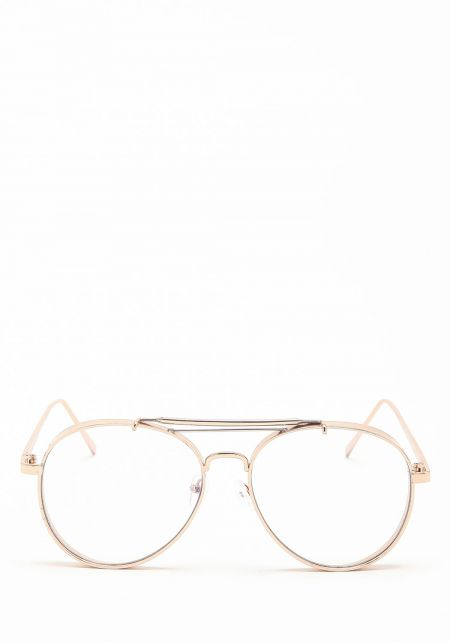 Gold Thick Frame Clear Aviator Glasses