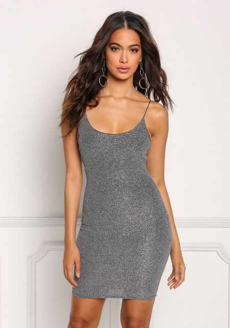 Silver Metallic Sleek Bodycon Dress