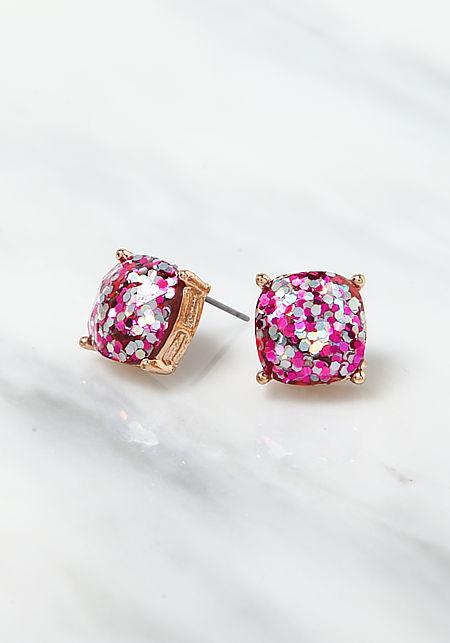 Fuchsia Rhinestone Glitter Earrings