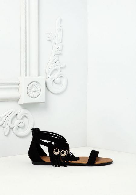Black Fringe Pendant Sandals