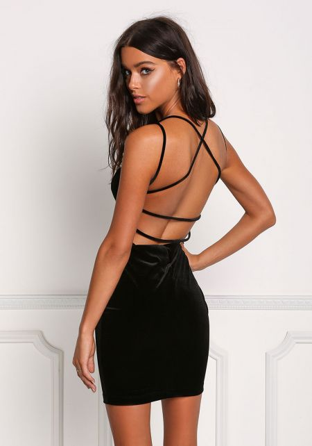 Black Back Cross Strap Velvet Bodycon Dress