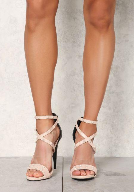 Nude Leatherette Studded Strap Heels