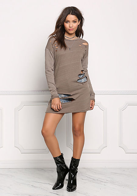 Mocha Long Sleeve Distressed Tunic Top