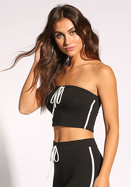 Black Drawstring Bandeau Crop Top