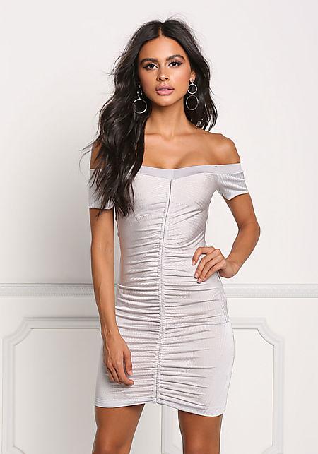 Grey Ruched Off Shoulder Bodycon Dress