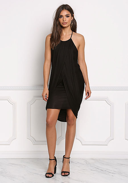 Black Draped & Layered Jersey Knit Dress