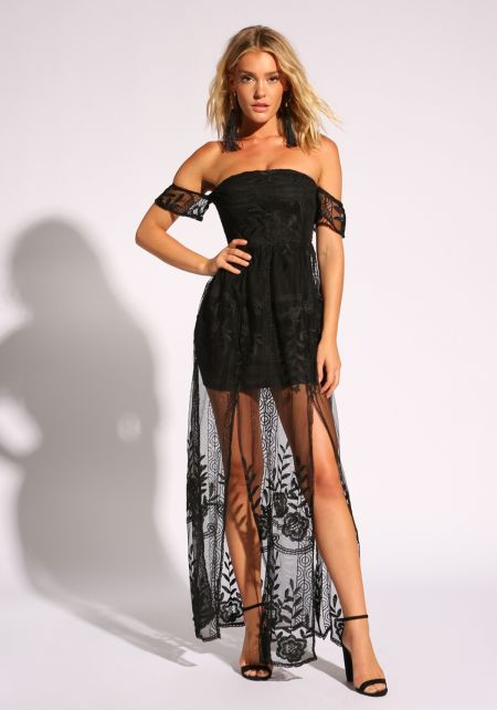Black Embroidered Tulle Slit Maxi Dress