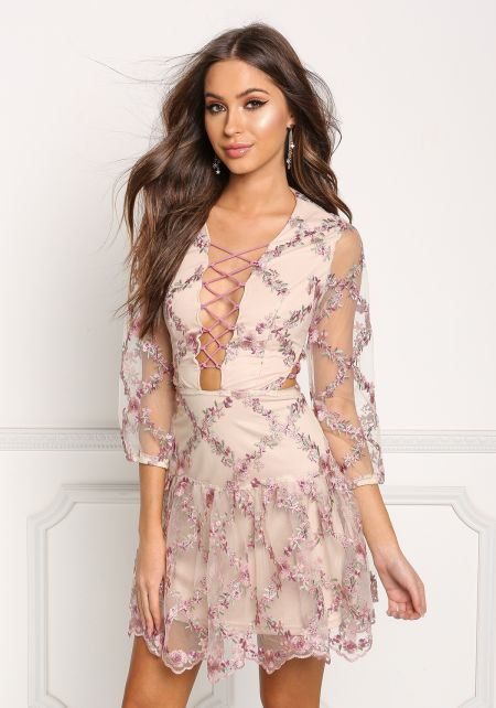 Nude Plunge Lace Up Floral Embroidered Flared Dres