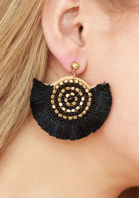 Black Short Tassel Beaded Earrings