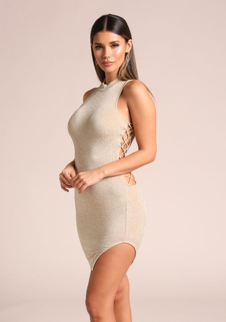 Champagne Sparkle Side Lace Up Bodycon Dress
