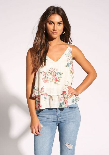 White Floral Layered Tank Top