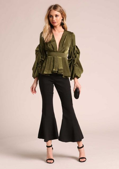 Olive Silky Ruched Sleeve Pleated Low V Blouse