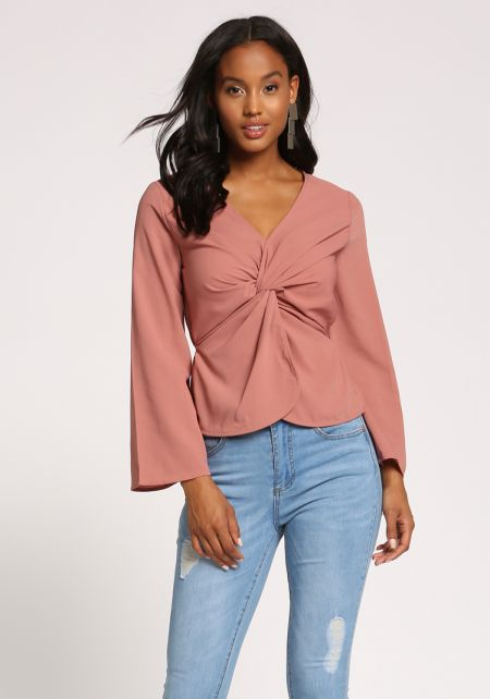Mauve Twisted Wide Sleeve Blouse