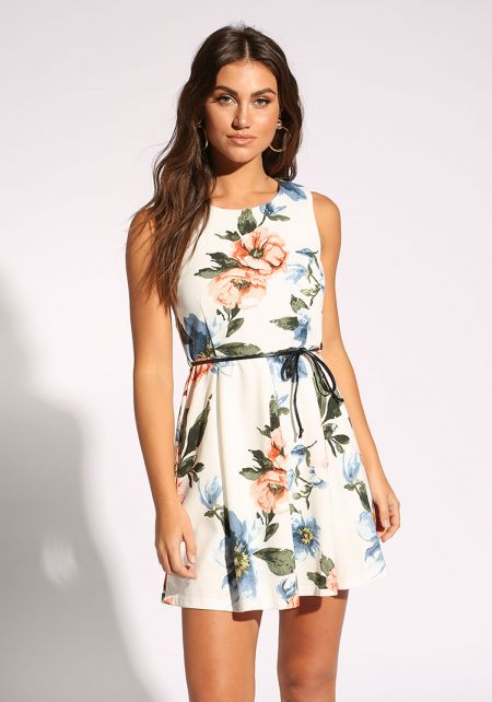 White Floral Belted Flared Dress