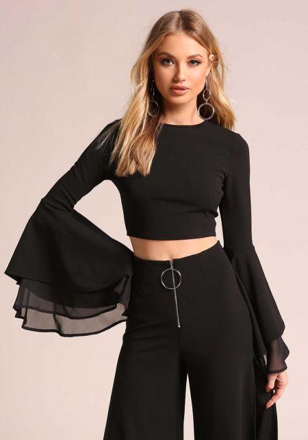 Black Tiered Bell Sleeve Crop Top